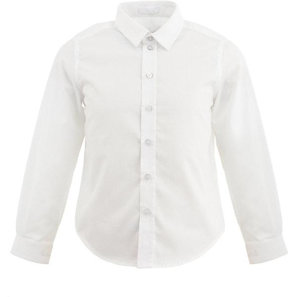 Рубашка Button Blue для мальчикаБлузки и рубашки<br>Характеристики товара:<br><br>• цвет: белый;<br>• состав: 65% хлопок, 35% полиэстер;<br>• сезон: круглый год;<br>• особенности: нарядная, однотонная;<br>• с длинным рукавом;<br>• застежка: пуговицы;<br>• манжеты рукавов на пуговицах;<br>• страна бренда: Россия;<br>• страна изготовитель: Китай.<br><br>Нарядная рубашка с длинным рукавом для мальчика. Белая рубашка застегивается на пуговицы, манжеты рукавов на двух пуговицах.<br><br>Рубашку Button Blue (Баттон Блю) можно купить в нашем интернет-магазине.<br>Ширина мм: 174; Глубина мм: 10; Высота мм: 169; Вес г: 157; Цвет: белый; Возраст от месяцев: 24; Возраст до месяцев: 36; Пол: Мужской; Возраст: Детский; Размер: 98,158,152,146,140,134,128,122,116,110,104; SKU: 7039253;