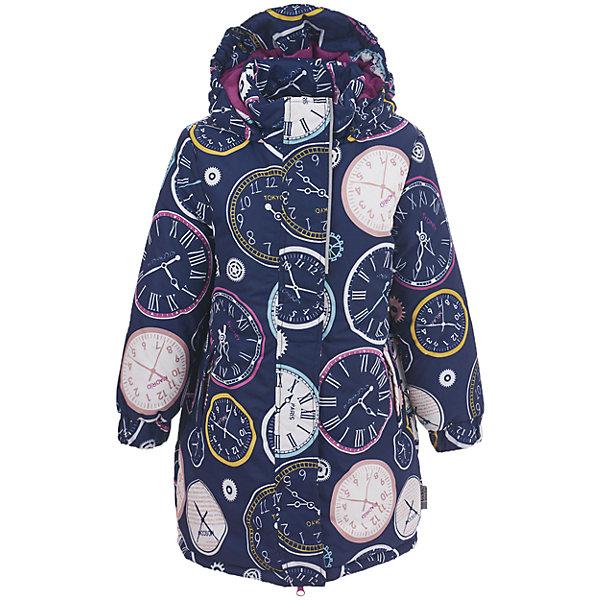 Утепленная куртка Button BlueВерхняя одежда<br>Характеристики товара:<br><br>• состав: 100% полиэстер;<br>• подкладка: 100% полиэстер, флис;<br>• утеплитель: 100% полиэстер;<br>• сезон: зима;<br>• температурный режим: от 0 до -20С;<br>• застежка: молния с защитой подбородка;<br>• дополнительная защитная планка на липучках;<br>• подкладка из флиса до талии, ниже гладкая подкладка;<br>• мягкие эластичные манжеты;<br>• водоотталкивающая ткань;<br>• карманы на молнии;<br>• страна бренда: Россия;<br>• страна изготовитель: Китай.<br><br>Яркая куртка из мембранной плащевки понравится всем любителям активных прогулок! Куртка сделана с соблюдением основных технологических особенностей производства спортивной одежды. Она не промокает, сохраняет тепло, трикотажная подкладка из мягкого флиса создает комфорт при длительной носке, утяжки защищают от продувания, светоотражающие элементы обеспечивают безопасность ребенка. Водоотталкивающая ткань с оригинальным рисунком делает куртку запоминающейся.