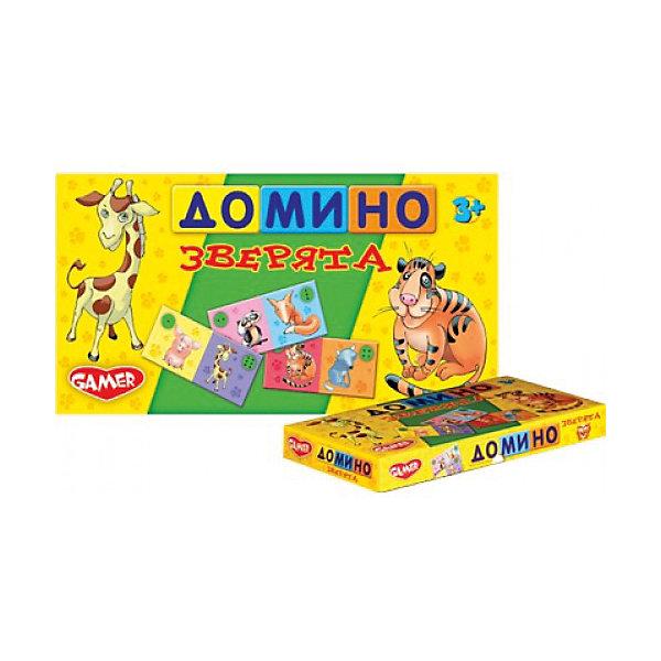 Настольная игра Домино Зверята Dream makersОбучающие игры<br>Характеристики товара:<br><br>• возраст: от 3 лет;<br>• в комплекте: 28 костяшек домино;<br>• модель: зверята;<br>• состав игрушки: пластик;<br>• вес: 135 гр.;<br>• размер упаковки: 29х14х4 см;<br>• упаковка: картонная коробка;<br>• страна производитель: Беларусь.<br><br>Домино «Зверята» - это очень интересная и веселая игра с новым дизайном. Благодаря этой игре, ребенок учится счету и запоминает животных. Яркое оформление домино привлекает внимание малышей. <br><br>Игра рассчитана на 2-4 игрока. Также использовать эти костяшки можно в ряде других игр. Например, игра башня, в которой каждый игрок кладет костяшку поверх костяшки своего противника. Тот, чья костяшка заставит рухнуть всю башню, будет считаться проигравшим. Подобная игра заинтересует не только детей, но и родителей.Время игры 20 минут.<br><br>Детскую настольную игру «Домино Зверята» можно купить в нашем интернет-магазине.<br>Ширина мм: 290; Глубина мм: 140; Высота мм: 40; Вес г: 135; Возраст от месяцев: 36; Возраст до месяцев: 2147483647; Пол: Унисекс; Возраст: Детский; SKU: 7040252;