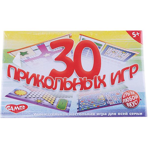 Настольная игра 30 Прикольных игр Dream makersИгры в дорогу<br>Характеристики товара:<br><br>• возраст: от 5 лет;<br>• в комплекте: 4 немнущихся игровых поля, 5 кубиков, 4 фишки, шашки и правила игр;<br>• количество игроков: 2-4;<br>• состав игрушки: пластик, картон;<br>• вес: 350 гр.;<br>• размер упаковки: 33х20х6 см;<br>• упаковка: картонная коробка.<br><br>Детская настольная игра «30 Прикольных игр» Gamer 1155H удивит и покорит каждого из членов Вашей семьи, а малышу позволит определиться с любимым развлечением.<br><br>«30 Прикольных игр» Gamer 1155H объединила в себе игры из различных уголков нашей планеты: тут есть шашки, крестики-нолики, покер, закорючка, апачи, дорожное бинго и многие другие игры. Во время настольной игры ребенок разовьет внимание, усидчивость и умение вести себя в коллективе.<br><br>Детскую настольную игру «30 Прикольных игр» можно купить в нашем интернет-магазине.<br>Ширина мм: 324; Глубина мм: 200; Высота мм: 55; Вес г: 350; Возраст от месяцев: 60; Возраст до месяцев: 2147483647; Пол: Унисекс; Возраст: Детский; SKU: 7040258;
