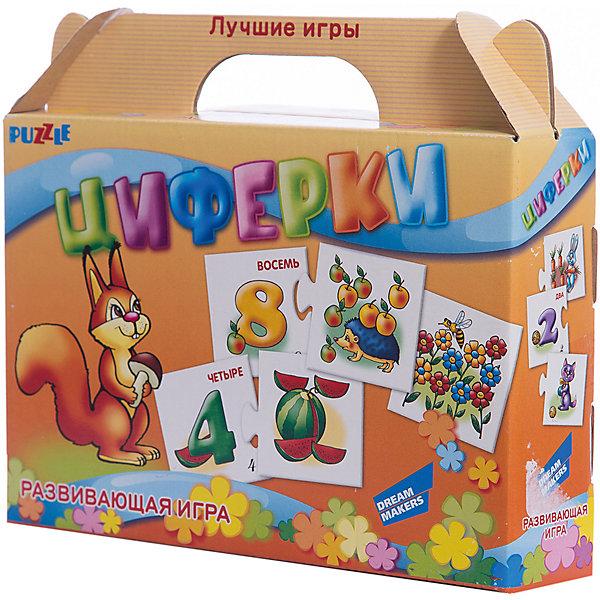 Развивающая игра-пазл Циферки Dream makers (20 деталей)Математика<br>Характеристики товара:<br><br>• возраст: от 3 лет;<br>• количество деталей: 10 пар карточек;<br>• из чего сделана игрушка (состав): картон;<br>• вес: 100 гр.;<br>• размер упаковки: 21,5х18,5х5 см;<br>• страна: Беларусь .<br><br>Отложите в сторону скучные занятия! Меняйте простое заучивание на познавательные игры. Используйте парные картинки — ищите с ребёнком ассоциативные связи и логические цепочки между изображениями. Помогите малышу научиться считать вместе с настольной развивающей игрой «Циферки».<br><br>Начните занятия с нескольких карточек и постепенно увеличивайте их количество. Продемонстрируйте ребёнку соединённые пары, назовите цифру и покажите ассоциативную картинку. Разомкните половинки карточек, перемешайте их и задавайте малышу наводящие вопросы. Например: «Посчитай, сколько здесь карандашей. А теперь найди цифру 3».<br><br>Детскую настольную игру  пазл развивающий «Циферки» можно купить в нашем интернет-магазине.<br>Ширина мм: 215; Глубина мм: 185; Высота мм: 50; Вес г: 100; Возраст от месяцев: 36; Возраст до месяцев: 2147483647; Пол: Унисекс; Возраст: Детский; SKU: 7040276;