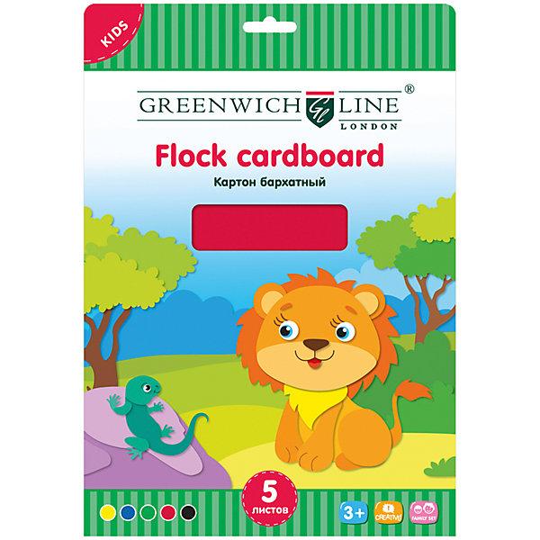 Бархатный картон А4 Greenwich Line 5 цветов 5 листовЦветная бумага и картон<br>Характеристики:<br><br>• формат: А4;<br>• количество листов: 5шт.; <br>• плотность: 240г/м.кв.<br>• размер папки: 19,8х28,5см.;<br>• вес: 108г.;<br>• для детей в возрасте: от 6лет.;<br>• страна производитель: Китай.<br><br>Набор бархатного картона бренда «Greenwich Line» (Гринвич Лайн), станет отличным приобретением для школьников. Он создан из качественных, экологически чистых материалмов, что очень важно для детских товаров.<br><br>  Набор отлично подойдёт для выполнения различных школьных заданий. Он состоит из пяти разноцветных листов. Цвета картона очень яркие и насыщенные. Применять такой материал для поделок будет интересно не только детям, но и взрослым. Упаковкой служит папка с красивым рисунком.<br><br>Использование набора позволит ребятам не только выполнять качественно школьные задания, но и создавать свои дизайнерские проекты. Развивать чувство стиля, фантазию и аккуратность.<br> <br>Бархатный картон можно купить в нашем интернет-магазине.<br>Ширина мм: 320; Глубина мм: 220; Высота мм: 2; Вес г: 108; Возраст от месяцев: 36; Возраст до месяцев: 2147483647; Пол: Унисекс; Возраст: Детский; SKU: 7044129;