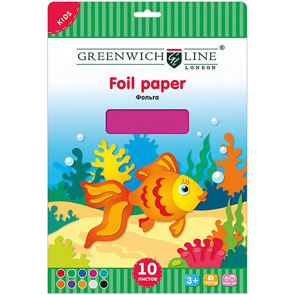 Фольга цветная А4 Greenwich Line 10 листов 10 цветовЦветная бумага и картон<br>Характеристики:<br><br>• формат: А4;<br>• количество листов: 10шт.; <br>• размер папки: 29,7х21см.;<br>• вес: 70г.;<br>• для детей в возрасте: от 6лет.;<br>• страна производитель: Китай.<br><br>Набор цветной фольги бренда «Greenwich Line» (Гринвич Лайн), станет отличным приобретением для школьников. Он создан из качественных, экологически чистых материалов, что очень важно для детских товаров.<br><br> Набор отлично подойдёт для детей, любящих создавать открытки, украшения и другие поделки используя фольгу для декорирования. Он состоит из десяти разноцветных листов. Цвета фольги очень яркие и насыщенные. Применять такой материал для поделок будет интересно не только детям, но и взрослым. Упаковкой служит картонка с красивым рисунком.<br><br>Использование набора позволит ребятам не только выполнять качественно различные задания, но и создавать свои дизайнерские проекты. Развивать чувство стиля, фантазию и аккуратность.<br><br>Цветную фольгу можно купить в нашем интернет-магазине.<br>Ширина мм: 310; Глубина мм: 220; Высота мм: 5; Вес г: 70; Возраст от месяцев: 84; Возраст до месяцев: 2147483647; Пол: Унисекс; Возраст: Детский; SKU: 7044131;