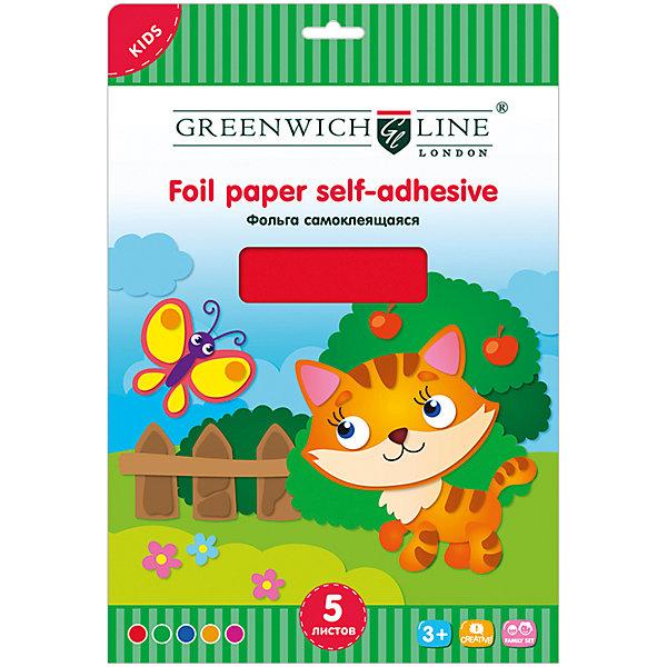 Фольга цветная А4 Greenwich Line 5 листов 5 цветов самоклеящаясяЦветная бумага и картон<br>Характеристики:<br><br>• формат: А4;<br>• количество листов: 5шт.; <br>• размер папки: 29,7х21см.;<br>• вес: 70г.;<br>• для детей в возрасте: от 6лет.;<br>• страна производитель: Китай.<br><br>Набор цветной фольги бренда «Greenwich Line» (Гринвич Лайн), станет отличным приобретением для школьников. Он создан из качественных, экологически чистых материалов, что очень важно для детских товаров.<br><br> Набор отлично подойдёт для детей, любящих создавать открытки, украшения и другие поделки используя фольгу для декорирования. Он состоит из пяти разноцветных самоклеящихся листов. Цвета фольги очень яркие и насыщенные. Применять такой материал для поделок будет интересно не только детям, но и взрослым. Упаковкой служит картонка с красивым <br><br>Использование набора позволит ребятам не только выполнять качественно различные задания, но и создавать свои дизайнерские проекты. Развивать чувство стиля, фантазию и аккуратность.<br><br>Цветную фольгу можно купить в нашем интернет-магазине.<br>Ширина мм: 290; Глубина мм: 220; Высота мм: 4; Вес г: 70; Возраст от месяцев: 84; Возраст до месяцев: 2147483647; Пол: Унисекс; Возраст: Детский; SKU: 7044132;