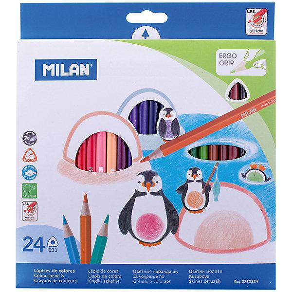 Карандаши 231 24 цвета Milan, трехгранныеКарандаши<br>Характеристики:<br><br>• материал: дерево;<br>• количество: 24шт.; <br>• упаковка: картон;<br>• размер упаковки: 21х19см.;<br>• вес: 181г.;<br>• для детей в возрасте: от 3лет.;<br>• страна производитель: Испания.<br><br>Набор цветных карандашей «231» бренда Milan (Милан) станет отличным приобретением для школьников. Он создан из качественных, экологически чистых материалов, что очень важно для детских товаров.<br><br> Набор отлично подойдёт для детишек, любящих рисовать. Он состоит из двадцати четырёх разноцветных карандашей с трёхгранной формой. Цвета очень яркие и насыщенные. Пользоваться ими удобно будет, не только детям, но и взрослым. Упаковкой служит картонка с красивым рисунком.<br><br>Использование набора позволит ребятам не только выполнять качественно школьные задания, но и создавать свои дизайнерские проекты. Развивать чувство стиля, фантазию и аккуратность.<br> <br>Набор цветных карандашей «231» можно купить в нашем интернет-магазине.<br>Ширина мм: 10; Глубина мм: 190; Высота мм: 210; Вес г: 181; Возраст от месяцев: 36; Возраст до месяцев: 2147483647; Пол: Унисекс; Возраст: Детский; SKU: 7044185;