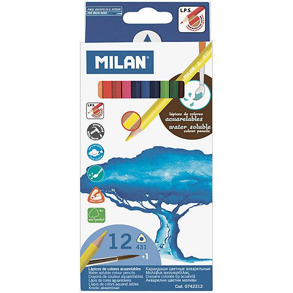 Карандаши акварельные 431 12 цветов + кисть Milan, трехгранныеКарандаши<br>Характеристики:<br><br>• материал: дерево;<br>• количество: 12шт.; <br>• упаковка: картон;<br>• размер упаковки: 18х9см.;<br>• вес: 80г.;<br>• для детей в возрасте: от 3лет.;<br>• страна производитель: Испания.<br><br>Набор цветных акварельных карандашей «431» бренда Milan (Милан) станет отличным приобретением для школьников. Он создан из качественных, экологически чистых материалов, что очень важно для детских товаров.<br><br> Набор отлично подойдёт для детишек, любящих рисовать. Он состоит из двенадцати разноцветных трёхгранных карандашей и кисточки. Цвета очень яркие и насыщенные. Пользоваться ими удобно будет, не только детям, но и взрослым. Упаковкой служит картонка с красивым рисунком.<br><br>Использование набора позволит ребятам не только выполнять качественно школьные задания, но и создавать свои дизайнерские проекты. Развивать чувство стиля, фантазию и аккуратность.<br> <br>Набор цветных карандашей «431» можно купить в нашем интернет-магазине.<br>Ширина мм: 180; Глубина мм: 90; Высота мм: 8; Вес г: 80; Возраст от месяцев: 36; Возраст до месяцев: 2147483647; Пол: Унисекс; Возраст: Детский; SKU: 7044188;