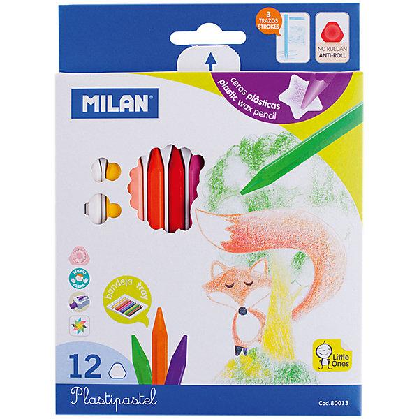 Milan Мелки восковые 12 цветов Milan карандаши восковые мелки пастель milan мелки восковые 6 цвета