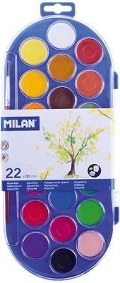 Акварель 22 цвета Milan, с кистью, артикул:7044193 - Рисование и лепка