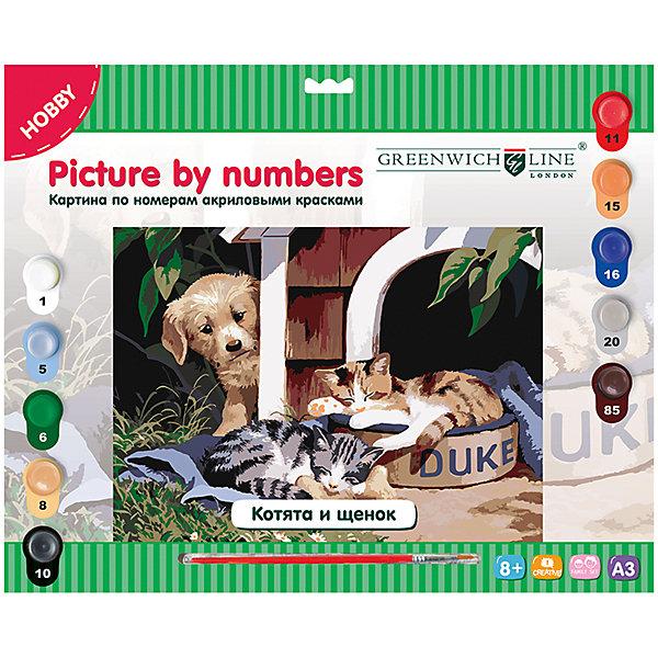Картина по номерам А3 Котята и щенок Greenwich LineКартины по номерам<br>Характеристики товара:<br><br>• возраст: от 8 лет;<br>• в комплекте: лист с нанесенным контуром, 10 акриловых красок, кисть, тренировочный лист;<br>• формат: А3;<br>• размер: 29,3х39,2 см;<br>• основа: картон;<br>• размер упаковки: 40х33х2,5 см;<br>• страна бренда: Великобритания.<br><br>Набор «Котята и щенок» предназначен для создания прекрасной картины с изображением щенка, с удивлением наблюдающего за котятами. Картину необходимо нарисовать в соответствии с номерами, нанесенными на основе из картона. В комплект входят 10 акриловых красок разных цветов, лист для тренировочных работ и нейлоновая кисть. Во время работы художник столкнется с двойными номерами, обозначающими необходимость смешивания двух оттенков для получения нового цвета. Подробная инструкция в комплекте.<br><br>Картину по номерам А3 «Котята и щенок» Greenwich Line (Гринвич Лайн) можно купить в нашем интернет-магазине.<br>Ширина мм: 410; Глубина мм: 320; Высота мм: 40; Вес г: 330; Возраст от месяцев: 96; Возраст до месяцев: 2147483647; Пол: Унисекс; Возраст: Детский; SKU: 7044247;