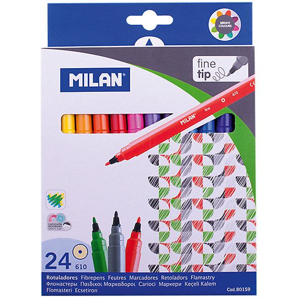 Фломастеры 610 24 цвета MilanФломастеры<br>Характеристики:<br><br>• материал: пластик;<br>• количество: 24шт.; <br>• упаковка: картон;<br>• размер упаковки: 16,5х14х2см.;<br>• вес: 235г.;<br>• для детей в возрасте: от 3лет.;<br>• страна производитель: Испания.<br><br>Набор цветных фломастеров «610» бренда «Milan» (Милан) станет отличным приобретением для школьников. Он создан из качественных, экологически чистых материалов, что очень важно для детских товаров.<br><br> Набор отлично подойдёт для детишек, любящих рисовать. Он состоит из двадцати четырёх разноцветных фломастеров. Цвета очень яркие и насыщенные. Пользоваться ими удобно будет, не только детям, но и взрослым. Упаковкой служит картонка с красивым рисунком.<br><br>Использование набора позволит ребятам не только выполнять качественно школьные задания, но и создавать свои дизайнерские проекты. Развивать чувство стиля, фантазию и аккуратность.<br> <br>Набор цветных фломастеров можно купить в нашем интернет-магазине.<br>Ширина мм: 165; Глубина мм: 140; Высота мм: 20; Вес г: 235; Возраст от месяцев: 36; Возраст до месяцев: 2147483647; Пол: Унисекс; Возраст: Детский; SKU: 7044290;