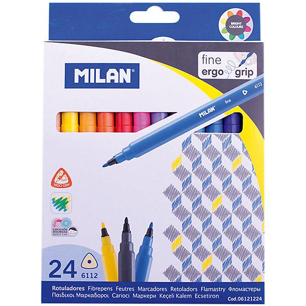Фломастеры 6112 24 цвета Milan, трехгранныеФломастеры<br>Характеристики:<br><br>• материал: пластик;<br>• количество: 24шт.; <br>• упаковка: картон;<br>• размер упаковки: 16,5х14х2см.;<br>• вес: 244г.;<br>• для детей в возрасте: от 3лет.;<br>• страна производитель: Испания.<br><br>Набор цветных фломастеров «6112» бренда «Milan» (Милан) станет отличным приобретением для школьников. Он создан из качественных, экологически чистых материалов, что очень важно для детских товаров.<br><br> Набор отлично подойдёт для детишек, любящих рисовать. Он состоит из двадцати четырёх разноцветных фломастеров трёхгранной формы. Цвета очень яркие и насыщенные. Пользоваться ими удобно будет, не только детям, но и взрослым. Упаковкой служит картонка с красивым рисунком.<br><br>Использование набора позволит ребятам не только выполнять качественно школьные задания, но и создавать свои дизайнерские проекты. Развивать чувство стиля, фантазию и <br>аккуратность.<br> <br>Набор цветных фломастеров можно купить в нашем интернет-магазине.<br>Ширина мм: 165; Глубина мм: 140; Высота мм: 20; Вес г: 244; Возраст от месяцев: 36; Возраст до месяцев: 2147483647; Пол: Унисекс; Возраст: Детский; SKU: 7044291;