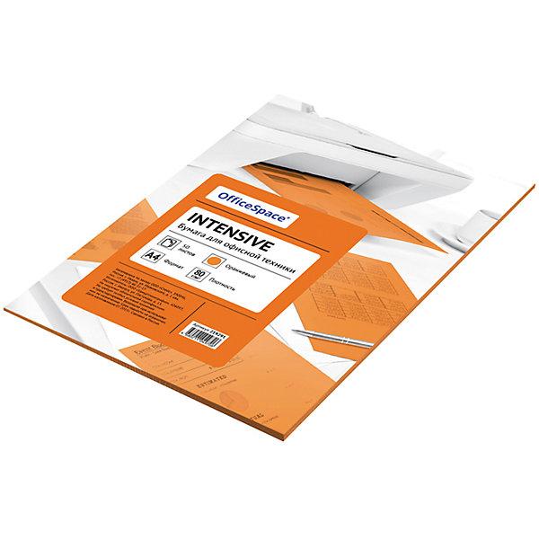 Бумага цветная intensive А4 50 листов OfficeSpace, оранжевыйЦветная бумага и картон<br>Характеристики товара:<br><br>• тип: цветная бумага;<br>• цвет: оранжевый;<br>• плотносить бумаги: 80 г.;<br>• формат бумаги: А4;<br>• количество листов: 50 шт;<br>• упаковка: т/у пленка с картонной подложкой;<br>• размер упаковки: 30х21х0,6 см.;<br>• вес: 300 гр.;<br>• страна обладатель бренда: Россия.<br><br>Набор цветной бумаги предназначен как для творчества, хобби, моделирования, оформления, так и идеально подходит для печати на любой офисной технике.<br><br>Идеально подходит для документов, презентаций, рекламных материалов, открыток. <br><br>Цветную бумагу можно купить в нашем интернет-магазине.