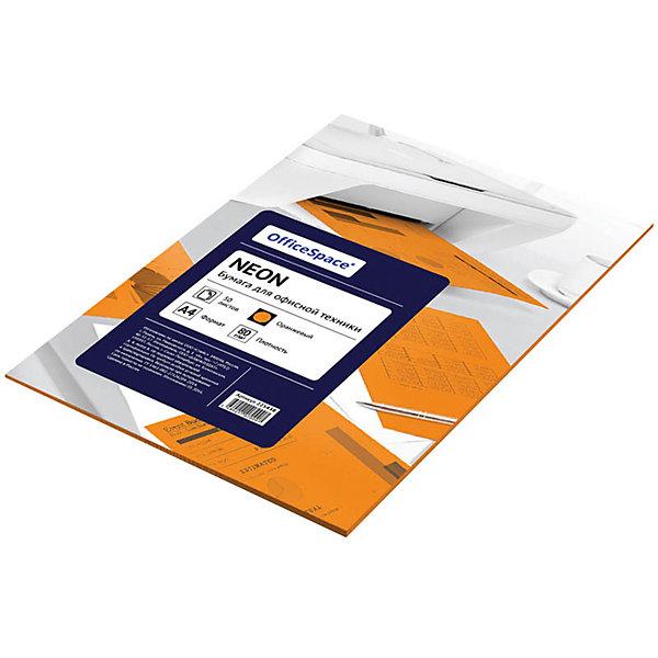 OfficeSpace Бумага цветная neon А4 50 листов OfficeSpace, оранжевый проф пресс книга с вырубкой волшебное рождество