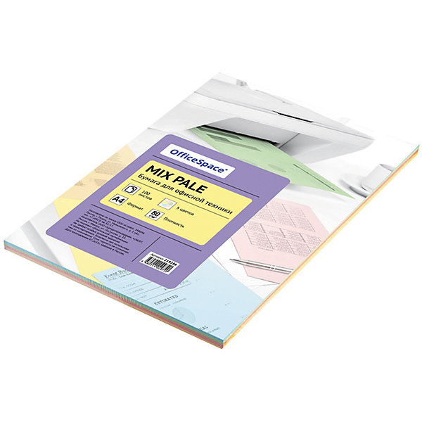 OfficeSpace Бумага цветная pale mix А4 100 листов OfficeSpace, 5 цветов бумага цветная 10 цветов 2 металлизированных а4