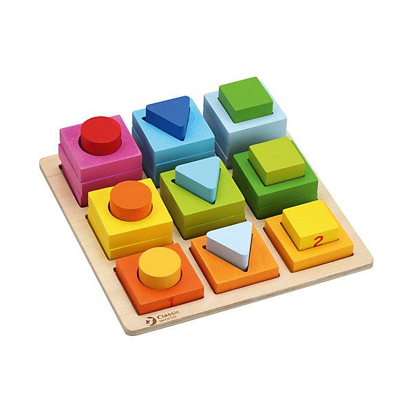 Сортер Геометрические блоки Classic WorldРазвивающие игрушки<br>Характеристики:<br><br>• возраст: от 1 года<br>• количество элементов: 28<br>• размер основы: 22,5х22,5 см.<br>• материал: дерево<br>• размер упаковки: 23,5х23,5х5,5 см.<br>• вес: 750 гр.<br><br>Развивающая игрушка - сортер «Геометрические блоки» познакомит ребенка с понятиями формы, цвета и размера предметов, научит основам логики, сравнительного анализа и математики.<br><br>Приятные на ощупь формы и фигурки изготовлены из качественно обработанного чайного дерева, имеют идеально гладкую текстуру и окрашены безопасными красками.<br><br>Сортер Геометрические блоки Classic World можно купить в нашем интернет-магазине.<br>Ширина мм: 235; Глубина мм: 235; Высота мм: 55; Вес г: 750; Возраст от месяцев: 12; Возраст до месяцев: 2147483647; Пол: Унисекс; Возраст: Детский; SKU: 7044535;