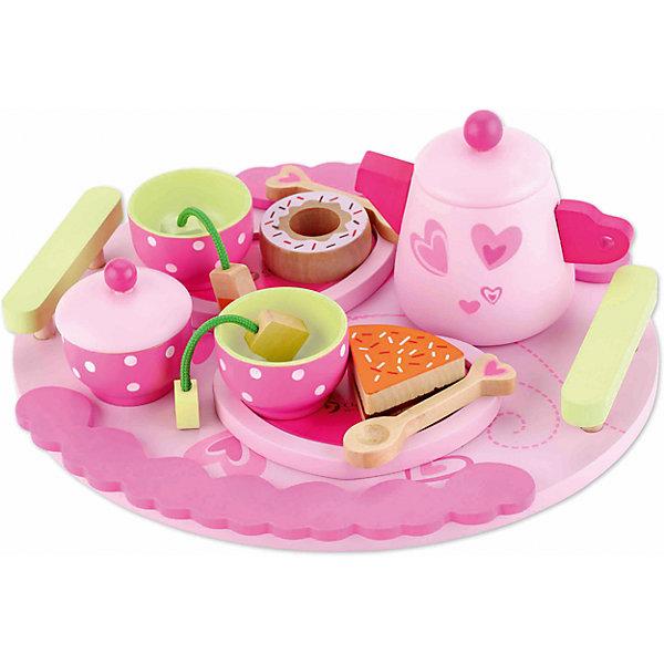 Столовый набор из дерева Чайная вечеринка, Classic WorldДетские кухни<br>Характеристики:<br><br>• возраст: от 3 лет<br>• в наборе: чайник, 2 чашки, 2 ложки, 1 большой поднос, 3 тарелочки, 2 пакетика с чаем, 3 десерта, сахарница<br>• материал: дерево<br>• упаковка: картонная коробка<br>• размер упаковки: 25х23,5х10 см.<br>• вес: 670 гр.<br><br>Стильный набор «Чайная вечеринка» прекрасно подойдёт для захватывающих сюжетно-ролевых игр. Ребёнок сможет придумать разнообразные сюжеты вечеринок, что прекрасно способствует развитию творческого мышления.<br><br>В наборе прелестная посуда для чаепитий на две персоны. Розовые чашечки и блюдечки для десертов – гостям, заварочный чайник с крышечкой – хозяйке. Также предусмотрены чайные пакетики с этикетками на веревочках и угощения – 3 десерта. Все предметы можно расположить на большом подносе с удобными ручками.<br><br>Набор изготовлен из экологически чистого дерева, для окрашивания использованы краски на водной основе. Поверхность всех элементов набора тщательно обработана.<br><br>Столовый набор из дерева Чайная вечеринка, Classic World можно купить в нашем интернет-магазине.<br>Ширина мм: 250; Глубина мм: 100; Высота мм: 235; Вес г: 670; Возраст от месяцев: 36; Возраст до месяцев: 2147483647; Пол: Женский; Возраст: Детский; SKU: 7044540;