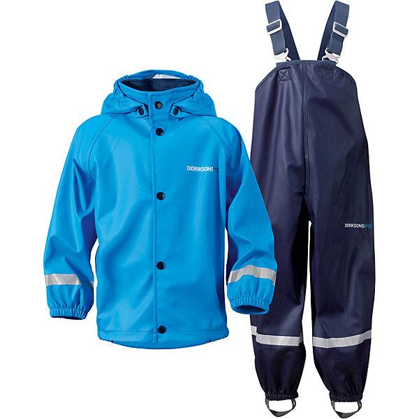 Комплект SLASKEMAN DIDRIKSONS для мальчикаВерхняя одежда<br>Характеристики товара:<br><br>• цвет: синий<br>• комплектация: куртка, полукомбинезон<br>• состав ткани: 100% полиуретан<br>• подкладка: 100% полиэстер (трикотаж)<br>• утеплитель: нет<br>• сезон: демисезон<br>• температурный режим: от +5 до +15<br>• влагонепроницаемость: 8000 мм <br>• все швы пропаяны<br>• непродуваемый<br>• капюшон: без меха, съемный<br>• штрипки<br>• застежка: кнопки<br>• манжеты на резинке<br>• фиксированные подтяжки<br>• страна бренда: Швеция<br>• страна изготовитель: Китай<br><br>Стильный комплект для дождливой погоды дополнен штрипками. Плотный верх детской куртки и полукомбинезона не промокает и не продувается, его легко чистить. Демисезонный комплект для ребенка отличается продуманным дизайном. Непромокаемый и непродуваемый верх детского комплекта усилен пропаянными швами. <br><br>Комплект для мальчика Slaskeman Didriksons (Дидриксонс) можно купить в нашем интернет-магазине.<br>Ширина мм: 408; Глубина мм: 274; Высота мм: 62; Вес г: 556; Цвет: синий; Возраст от месяцев: 24; Возраст до месяцев: 48; Пол: Унисекс; Возраст: Детский; Размер: 110,80,140,128,116,98,92; SKU: 7044743;