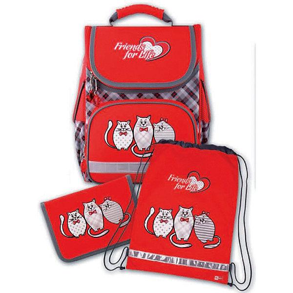 Набор для школьницы Три кота Феникс+Ранцы<br>Набор для школьницы ТРИ КОТА (ранец (полиэстер), пенал (без наполнения), мешок для обуви: (ранец: 35x26x15см,  пенал: 20x13.3x3.5см, мешок для обуви: 36x48см. Набор в подарочной картонной коробке с ПВХ-окном)<br>Ширина мм: 300; Глубина мм: 190; Высота мм: 370; Вес г: 1568; Возраст от месяцев: 72; Возраст до месяцев: 2147483647; Пол: Женский; Возраст: Детский; SKU: 7046258;