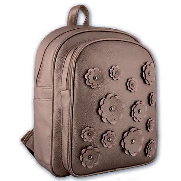 Рюкзак молодежный Цветы Феникс+, бронзаРюкзаки<br>Рюкзак молодежный ЦВЕТЫ (БРОНЗА) (35х26х16см, кожзам, уплотн. лямки с регулировкой, декор. аппликацией и метал. заклепками, 1 фронт. и 2 бок. кармана, индив. ПЭТ-пакет)<br>Ширина мм: 350; Глубина мм: 260; Высота мм: 160; Вес г: 760; Возраст от месяцев: 72; Возраст до месяцев: 2147483647; Пол: Унисекс; Возраст: Детский; SKU: 7046416;