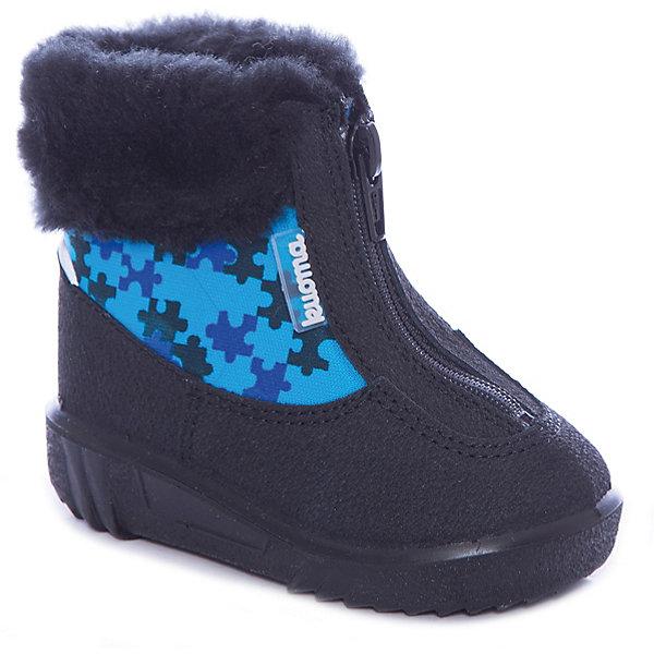Ботинки Baby Kuoma для мальчикаВаленки<br>Характеристики товара:<br><br>• цвет: голубой<br>• внешний материал: текстиль<br>• внутренний материал: натуральная шерсть<br>• стелька: натуральная шерсть<br>• подошва: полиуретан<br>• сезон: зима<br>• температурный режим: от -35 до -5<br>• застежка: молния<br>• анатомические <br>• подошва не скользит<br>• высокие<br>• защита мыса<br>• страна бренда: Финляндия<br>• страна изготовитель: Финляндия<br><br>Эти зимние ботинки для детей сделаны из прочного и износостойкого материала. Подкладка детских ботинок отвечает потребностям ребенка. Такие зимние ботинки для мальчика декорированы опушкой. Толстая подошва обеспечивает теплым детским ботинкам защиту от грязи и влаги. <br><br>Ботинки для мальчика Baby Kuoma (Куома) можно купить в нашем интернет-магазине.<br>Ширина мм: 262; Глубина мм: 176; Высота мм: 97; Вес г: 427; Цвет: синий; Возраст от месяцев: 21; Возраст до месяцев: 24; Пол: Мужской; Возраст: Детский; Размер: 24,19,23,22,21,20; SKU: 7047835;