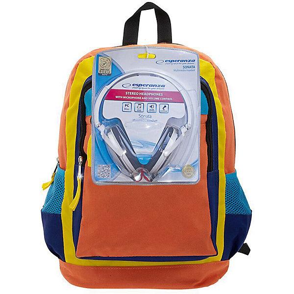 Рюкзак Оранжевое настроение с наушниками, цвет оранжевый с синимРюкзаки<br>Характеристики товара:<br><br>• цвет: оранжевый синий;<br>• класс: от 7 лет;<br>• особенности рюкзака: большой, легкий, школьный;<br>• вес: 0,5 кг;<br>• размер: 40х32х13 см;<br>• материал: текстиль;<br>• в комплекте наушники;<br>• уплотненная мягкая спинка;<br>• лямки регулируются по росту; <br>уплотненные;<br>• страна бренда: США;<br>• страна изготовитель: Китай.<br><br>Стильный, вместительный и практичный, рюкзак понравится и школьникам, и студентам. Просторный внутренний отсек, наружный карман на молнии будут очень удобны в использовании.<br><br>В комплекте наушники. Длина кабеля 2м, разъем 3,5мм, сопротивление 32 Ом, диапазон часто - 20 Гц-20000 Гц, выходная мощность - 100 мВт.<br><br>Рюкзак «Оранжевое настроение» можно купить в нашем интернет-магазине.