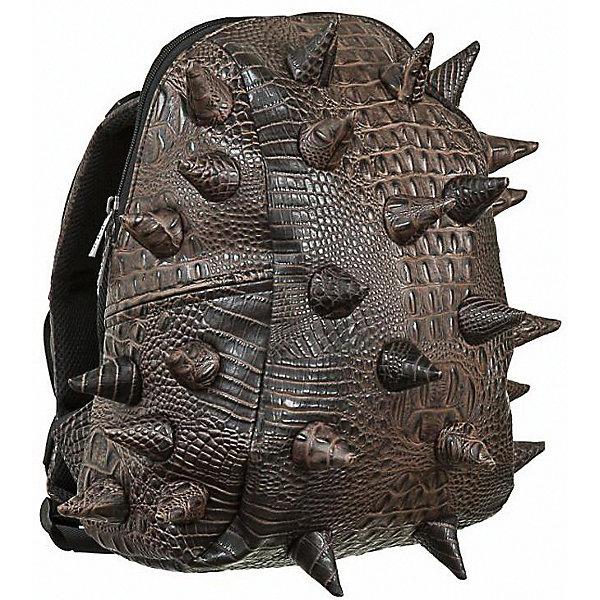 Рюкзак Gator Half, цвет Jurassic Brown (коричневый)Рюкзаки<br>Характеристики товара:<br><br>• цвет: Jurassic Brown (коричневый);<br>• возраст: от 3 лет;<br>• вес: 0,6 кг;<br>• размер: 36х30х15 см;<br>• особенности модели: с пузырями;<br>• большое отделение на молнии;<br>• мягкие регулируемые лямки;<br>• ортопедическая спинка с вентиляцией;<br>• материал: поливинил;<br>• страна бренда: США;<br>• страна изготовитель: Китай.<br><br>Легкий и вместительный рюкзак с одним основным отделением с застежкой на молнии. В основное отделение с легкостью входит ноутбук размером диагонали 13 дюймов, iPad и формат А4. Стильный шипованный дизайн с имитацией кожи рептилий выделяют рюкзак Мэдпакс Гатор Халф среди аналогичных моделей. <br><br>Широкие лямки можно регулировать для наиболее удобной посадки, а мягкая ортопедическая спинка делает ношение наиболее удобным и комфортным.<br><br>Рюкзак Madpax «Gator Half» можно купить в нашем интернет-магазине.<br>Ширина мм: 360; Глубина мм: 300; Высота мм: 150; Вес г: 600; Возраст от месяцев: 36; Возраст до месяцев: 720; Пол: Унисекс; Возраст: Детский; SKU: 7054095;