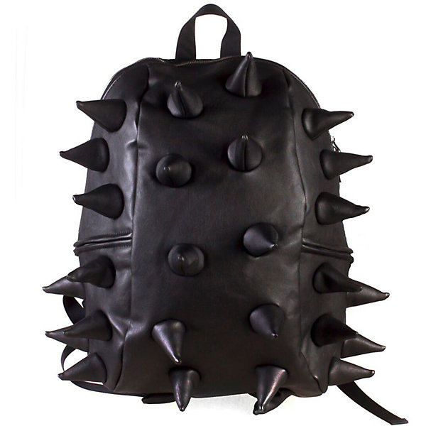 Рюкзак Rex Half Heavy Metal Spike Black, цвет черныйРюкзаки<br>Характеристики товара:<br><br>• цвет: Heavy Metal Spike Black (черный);<br>• возраст: от 3 лет;<br>• вес: 0,6 кг;<br>• размер: 36х30х15 см;<br>• особенности модели: с пузырями;<br>• основное отделение на молнии;<br>• в основное отделение с легкостью входит ноутбук размером диагонали 13 дюймов, iPad и формат А4;<br>• мягкие регулируемые по высоте лямки;<br>•  вентилируемая и ортопедическая спинка;<br>• два дополнительных боковых кармана на молнии;<br>• материал: полиуретан;<br>• страна бренда: США;<br>• страна изготовитель: Китай.<br><br>Удобный рюкзак для детей Madpax «Rex Half» непременно понравится детям, которые уже ходят в школу. Малый вес рюкзака позволяет ребенку носить с собой все необходимое для учебы, при этом не перегружая позвоночник. <br><br>Удобное расположение дополнительных кармашков позволяет ребенку с легкостью доставать необходимые ему вещи. Специальная спинка рюкзака Рекс Халф обеспечивает постоянную вентиляцию спины малыша. Мягкие ремни регулируются в зависимости от роста ребенка. Рюкзак «Rex Half» – это стильная и удобная модель, которая предназначена для ежедневного ношения.<br><br>Рюкзак Madpax «Rex Half» можно купить в нашем интернет-магазине.<br>Ширина мм: 360; Глубина мм: 300; Высота мм: 150; Вес г: 600; Возраст от месяцев: 36; Возраст до месяцев: 720; Пол: Унисекс; Возраст: Детский; SKU: 7054103;
