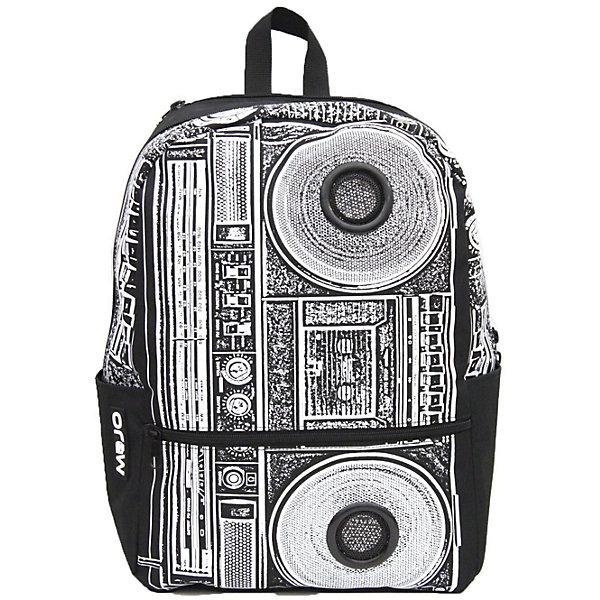 Рюкзак BOOMBOX, цвет черный/белыйРюкзаки<br>Характеристики товара:<br><br>• цвет: черно-белый принт;<br>• возраст: от 10 лет;<br>• вес: 0,5 кг;<br>• размер: 43х31х18 см;<br>• в комплекте встроенные стереоколонки с усилителями;<br>• усилитель подключается к любому устройству с 3,5 мм stereo jack;<br>• светится в УФ и темноте;<br>• внутренний отсек с плотным отделением для ноутбука или планшета;<br>• впереди большой карман на молнии;<br>• два боковых кармана;<br>• широкие удобные ремни и усиленная спинка;<br>• мягкие регулируемые ремни;<br>• материал: полиэстер;<br>• страна бренда: США;<br>• страна изготовитель: Китай.<br><br>Настроение диско-стиля в сдержанной черно-белой гамме смотрится неожиданно и интересно! Этот рюкзак от Mojo, украшенный принтом с музыкальными мотивами, расскажет все о самобытности и оригинальном взгляде на мир своего владельца. <br><br>В комплекте встроенные стереоколонки с усилителями. Колонки работают от 4 батареек типа АА, разьем 3.5` (старндартный).<br><br>Имеется полноразмерное основное отделение с органайзером, внешний отсек среднего размера, и два боковых кармана.<br><br>Рюкзак Mojo Pax «Boombox» можно купить в нашем интернет-магазине.<br>Ширина мм: 430; Глубина мм: 310; Высота мм: 180; Вес г: 500; Возраст от месяцев: 120; Возраст до месяцев: 720; Пол: Унисекс; Возраст: Детский; SKU: 7054146;