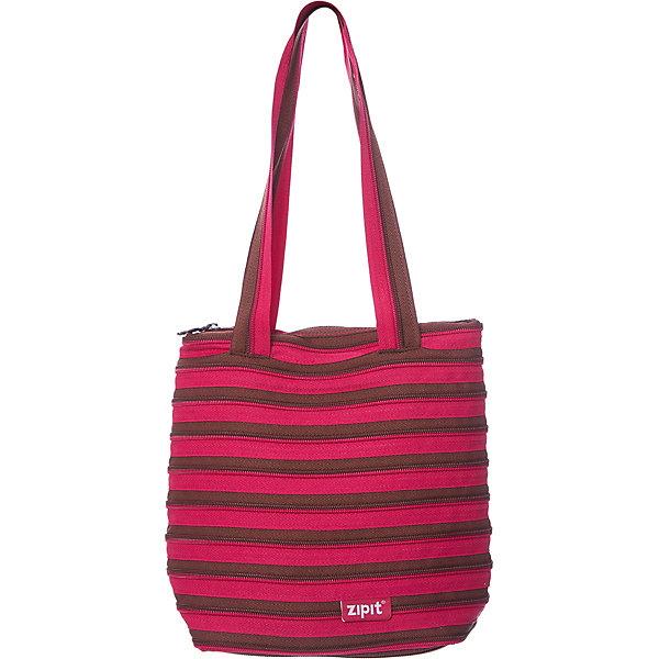 Фото - Zipit Сумка Premium Tote/Beach Bag, цвет розовый/коричневый sy16 black professional waterproof outdoor bag backpack dslr slr camera bag case for nikon canon sony pentax fuji