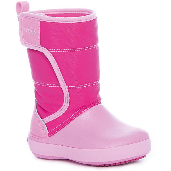Сапоги LodgePoint Snow Boot K для девочкиСноубутсы<br>Характеристики товара:<br><br>• цвет: розовый<br>• внешний материал: водоотталкивающий нейлон<br>• внутренний материал: текстиль<br>• стелька: текстиль<br>• подошва: Croslite<br>• сезон: демисезон<br>• температурный режим: от -10 до +5<br>• застежка: липучка<br>• непромокаемые<br>• защита мыса <br>• подошва не скользит <br>• анатомические <br>• страна бренда: США<br>• страна производства: Китай<br><br>Утепленные детские сапоги Крокс обеспечивают ногам тепло и сухость. Эти сапоги Crocs имеют теплую подкладку внутри. Материал Croslite™ - это патентованная пена с закрытыми ячейками, обладающая удивительными свойствами. Она присутствует в каждой паре обуви Crocs™, придавая ей характерную упругость, неповторимый комфорт и ощущение свободы. Ноги в таких сапогах для ребенка не устают и не скользят. <br><br>Сапоги LdgPtSnowBtK Crocs (Крокс) можно купить в нашем интернет-магазине.<br>Ширина мм: 257; Глубина мм: 180; Высота мм: 130; Вес г: 420; Цвет: розовый; Возраст от месяцев: 36; Возраст до месяцев: 48; Пол: Женский; Возраст: Детский; Размер: 27,34/35,33/34,31/32,30,29,28,26,25,24,23; SKU: 7063539;