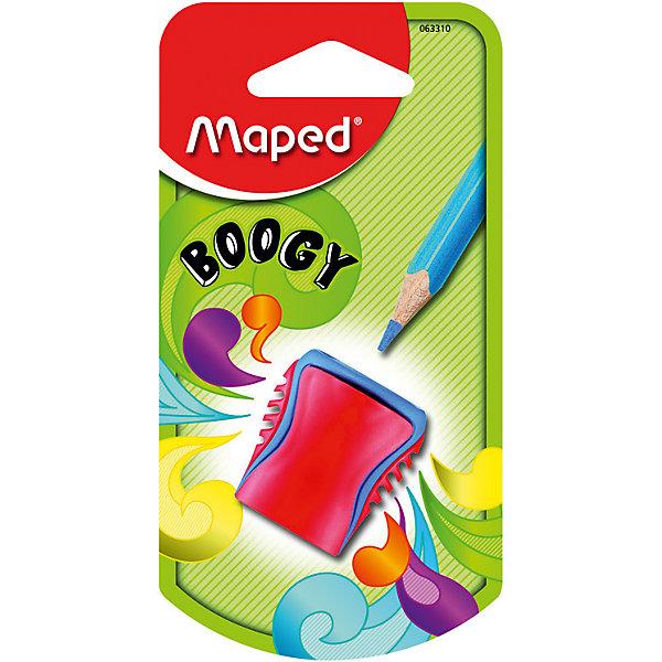 Точилка Maped Boogy, пластиковая, 1 отверстиеЛастики и точилки<br>Характеристики:<br><br>• возраст: от 3 лет<br>• количество отверстий: 1<br>• материал корпуса: пластик<br>• материал лезвия: металл<br>• размер: 3,5x2,5x1,5 см.<br><br>Точилка «Boogy» с рифленой областью обхвата имеет одно отверстие со стальным лезвием. Она предназначена для заточки карандашей стандартного размера. Корпус точилки изготовлен из ударопрочного пластика. Контейнер для сбора стружки неотделим от точилки, что исключает его потерю.<br><br>MAPED Точилку пластиковую с 1 диаметром BOOGY можно купить в нашем интернет-магазине.<br>Ширина мм: 24; Глубина мм: 65; Высота мм: 125; Вес г: 7; Возраст от месяцев: 36; Возраст до месяцев: 2147483647; Пол: Унисекс; Возраст: Детский; SKU: 7065325;