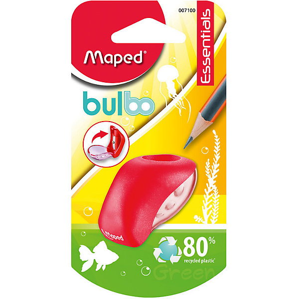 Точилка Maped Buldo, пластиковая 1 отверстиеЛастики и точилки<br>Характеристики:<br><br>• возраст: от 3 лет<br>• количество отверстий: 1<br>• материал корпуса: пластик<br>• материал лезвия: металл<br>• размер: 5x3 см.<br><br>Точилка «Bulbo» с одним отверстием предназначена для заточки карандашей стандартного размера. Острое стальное лезвие обеспечивает высококачественную и точную заточку. Карандаш затачивается легко и аккуратно, а опилки после заточки остаются в прозрачном контейнере для сбора стружки. Корпус точилки изготовлен из ударопрочного пластика.<br><br>MAPED Точилку пластиковую с 1 диаметром Bulbo можно купить в нашем интернет-магазине.<br>Ширина мм: 30; Глубина мм: 65; Высота мм: 125; Вес г: 8; Возраст от месяцев: 36; Возраст до месяцев: 2147483647; Пол: Унисекс; Возраст: Детский; SKU: 7065328;