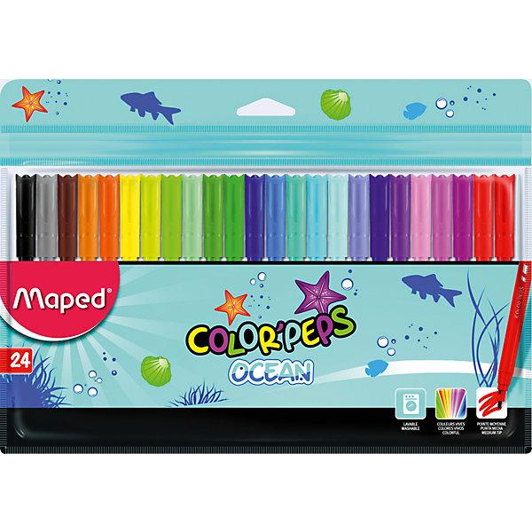 Фломастеры Maped, 24 цветаФломастеры<br>Характеристики:<br><br>• возраст: от 3 лет<br>• в наборе: 24 фломастера<br>• количество цветов: 24<br>• материал корпуса: пластик<br>• толщина линии: 2 мм.<br>• размер упаковки: 26,9х17,7х0,9 см.<br><br>Фломастерами Color Peps Ocean с заблокированным пишущим узлом предназначены для тонкого письма и раскрашивания. В наборе 24 фломастера, ярких насыщенных цветов. Фломастеры смываются практически со всех видов ткани. Соответствуют действующим российским и европейским стандартам качества игрушек. Колпачок вентилируемый.<br><br>MAPED Набор фломастеров 24 цветов можно купить в нашем интернет-магазине.<br>Ширина мм: 9; Глубина мм: 269; Высота мм: 177; Вес г: 147; Возраст от месяцев: 36; Возраст до месяцев: 2147483647; Пол: Унисекс; Возраст: Детский; SKU: 7065335;