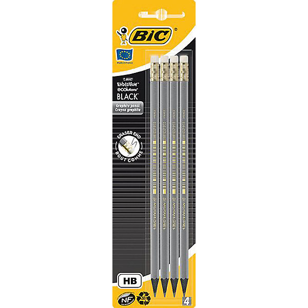 BIC Карандаши чернографитные Bic Evolution Black, 4 шт + ластик iec 320 c13 female to c14 male with10a on off switch power adapter cable fr pdu ups c14 c13 extension power cord 10pcs