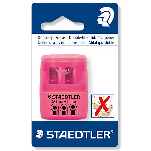 Точилка Staedtler 2 отверстия, розовый неонЛастики и точилки<br>Характеристики:<br><br>• возраст: от 5 лет<br>• количество отверстий: 2<br>• материал: пластик, металл<br>• цвет: неон розовый<br>• упаковка: блистер<br>• размер упаковки: 10х7х3 см.<br><br>Точилка в пластиковом корпусе на 2 отверстия подходит для чернографитовых стандартных карандашей диаметром до 8,2 мм с углом заточки 23° для четких и аккуратных линий. Также для толстых чернографитовых и цветных карандашей диаметром до 11 мм, угол заточки 30° для широких и ровных линий. Металлическая затачивающая часть. Закрытая конструкция предотвращает высыпание мусора во время заточки. Безопасный крепеж крышки.<br><br>STAEDTLER Точилку в пластиковом корпусе на 2 отверстия, неон розовый можно купить в нашем интернет-магазине.