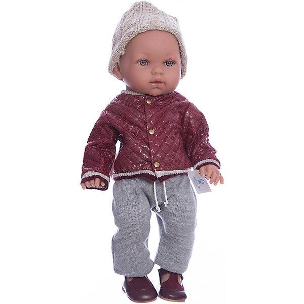 Кукла Vestida de Azul Тонино-городской модник в бомбере, серия премиумКуклы-пупсы<br>Характеристики:<br><br>• вес: 1,4кг.;<br>• материал: винил, текстиль;<br>• упаковка: коробка;<br>• размер упаковки: 47х16х25см.;<br>• для детей в возрасте: от 3 лет;<br>• страна производитель: Испания.<br><br>Кукла «Тонино-городской модник в бомбере» бренда Vestida de Azul (Вестида Де Азул) станет желанным подарком для маленькой девочки. Она создана из высококачественных, экологически чистых материалов, что очень важно для детских товаров.<br><br>Милый малыш-карапуз умеющий плакать, в шикарном наряде не оставит равнодушной ни одну девочку. Игрушка имеет оптимальный размер, её рост составляет сорок пять сантиметров. У неё мягкое тельце, а ножки и ручки хорошо двигаются. Тонино можно брать с собой в путешествия и на прогулки, чтобы показывать подружкам и играть вместе сними.<br><br>Играя с куклой дети могут создавать свой стиль в одежде, развивать социальные навыки, фантазию, креативность.<br><br>Куклу «Тонино- городской модник в бомбере» можно купить в нашем интернет-магазине.