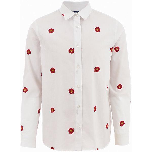 Блузка Gulliver для девочкиБлузки и рубашки<br>Характеристики товара:<br><br>• цвет: белый;<br>• состав: 68% хлопок, 29% полиэстер, 3% эластан;<br>• сезон: круглый год;<br>• особенности: с рисунком;<br>• отложной воротничок;<br>• застежка: пуговицы;<br>• манжеты на пуговицах;<br>• рисунок контрастного цвета;<br>• коллекция: Коллаж;<br>• страна бренда: Россия;<br>• страна изготовитель: Китай.<br><br>Блузка с длинным рукавом для девочки. Блузка застегивается на пуговицы, манжеты рукавов на двух пуговицах, отложной воротничок. Удлиненная белая блузка с мелким оригинальным рисунком в красную ромашку. Свободный силуэт, укороченная линия переда делают модель утонченной и элегантной. Лаконичность, свобода, отсутствие ярких акцентов, деликатность в отделке.<br><br>Блузку Gulliver для девочки (Гулливер) можно купить в нашем интернет-магазине.<br>Ширина мм: 186; Глубина мм: 87; Высота мм: 198; Вес г: 197; Цвет: белый; Возраст от месяцев: 72; Возраст до месяцев: 84; Пол: Женский; Возраст: Детский; Размер: 122,140,134,128; SKU: 7076787;