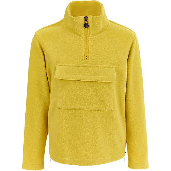 Флисовая кофта Gulliver для мальчикаФлис и термобелье<br>Характеристики товара:<br><br>• цвет: желтый;<br>• состав: 100% полиэстер, флис;<br>• сезон: демисезон;<br>• особенности: флисовая;<br>• застежка: молния у горловины;<br>• нагрудный карман на липучке;<br>• коллекция: Арбитр;<br>• страна бренда: Россия;<br>• страна изготовитель: Китай.<br><br>Флисовая кофта для мальчика - классика жанра! В гардеробе ребенка таких моделей может быть не одна и не две… Яркий цвет, крупные детали, эффектный принт, легкость, мягкость, уют... Флисовая кофта - олицетворение тепла и комфорта!<br><br>Кофту Gulliver (Гулливер) можно купить в нашем интернет-магазине.<br>Ширина мм: 356; Глубина мм: 10; Высота мм: 245; Вес г: 519; Цвет: желтый; Возраст от месяцев: 84; Возраст до месяцев: 96; Пол: Мужской; Возраст: Детский; Размер: 128,122,140,134; SKU: 7077053;
