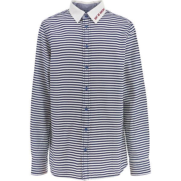 Рубашка Gulliver для мальчикаБлузки и рубашки<br>Характеристики товара:<br><br>• цвет: синий/белый;<br>• состав: 100% хлопок;<br>• сезон: круглый год;<br>• особенности: в полоску, повседневная;<br>• застежка: пуговицы;<br>• манжеты рукавов на пуговицах;<br>• с длинным рукавом;<br>• налокотники под джинсу;<br>• коллекция: Морской волк;<br>• страна бренда: Россия;<br>• страна изготовитель: Китай.<br><br>Рубашка с длинным рукавом для мальчика. Рубашка в полоску застегивается на пуговицы, манжеты рукавов на двух пуговицах. Приталенный силуэт, отделка внутренней планки, стойки и манжет контрастной тканью, стильные налокотники, вышивка на спинке делают рубашку очень привлекательной и яркой!<br><br>Рубашку Gulliver (Гулливер) можно купить в нашем интернет-магазине.<br>Ширина мм: 174; Глубина мм: 10; Высота мм: 169; Вес г: 157; Цвет: белый; Возраст от месяцев: 156; Возраст до месяцев: 168; Пол: Мужской; Возраст: Детский; Размер: 164,146,158,152; SKU: 7077289;