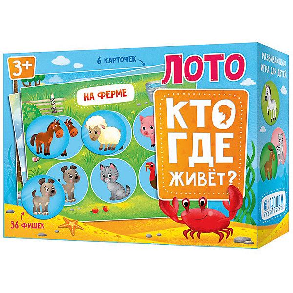 Лото Кто где живет Издательство ГеоДомЛото<br>Характеристики:<br><br>• размер 19,0х15,0х6,0см;<br>• упаковка: картон;<br>• вес: 325г.;<br>• для детей в возрасте: от 3 лет;<br>• страна производитель: Россия.<br><br>Лото «Кто где живёт?» от издательства Геодом прекрасный подарок для мальчишек и девчонок. Детское лото включает в себя четыре карточки и фишки. На каждой фишке изображены картинки с различными животными. Эта игра позволяет малышам лучше узнать мир животных, и где они обитают.<br><br>Играть в лото можно в компании с друзьями от двух до четырёх человек. Целью игры является сопоставление картинок карточки и фишек.<br><br>Играя дети развивают память, внимательность, логическое и пространственное мышление, мелкую моторику рук, усидчивость, терпение.<br><br>Лото «Кто где живёт?» издательства Геодом можно приобрести в нашем интернет-магазине.<br>Ширина мм: 190; Глубина мм: 150; Высота мм: 6; Вес г: 325; Возраст от месяцев: 36; Возраст до месяцев: 2147483647; Пол: Унисекс; Возраст: Детский; SKU: 7077939;