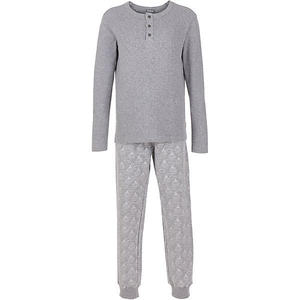 Пижама Gulliver для мальчикаПижамы и сорочки<br>Характеристики товара:<br><br>• цвет: серый;<br>• состав: кофта 97% хлопок, 3% эластан; брюки 95% хлопок, 5% эластан;<br>• сезон: круглый год;<br>• особенности: с рисунком, с надписью;<br>• в комплекте: кофта и брюки;<br>• брюки на резинке с дополнительном шнурком-завязкой;<br>• кофта застегивается на пуговицы у горловины;<br>• страна бренда: Россия;<br>• страна изготовитель: Китай.<br><br>Белье для мальчика должно быть красивым и качественным. Пижама для мальчика с оригинальным принтом - прекрасное решение на каждый день. Мягкая, нежная, с ненавязчивым мелким рисунком и изящными деталями. Брюки с мелким рисунком, на спине кофты цифровая надпись.<br><br>Пижаму Gulliver для мальчика (Гулливер) можно купить в нашем интернет-магазине.<br>Ширина мм: 281; Глубина мм: 70; Высота мм: 188; Вес г: 295; Цвет: серый; Возраст от месяцев: 24; Возраст до месяцев: 36; Пол: Мужской; Возраст: Детский; Размер: 98,158,146,134,122,110; SKU: 7078127;
