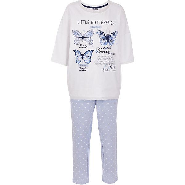 Пижама Gulliver для девочкиПижамы и сорочки<br>Характеристики товара:<br><br>• цвет: белый/голубой;<br>• состав: 95% хлопок, 5% эластан;<br>• сезон: круглый год;<br>• особенности: с рисунком, с надписью;<br>• в комплекте 2 предмета: кофта и штаны;<br>• штаны на резинке с дополнительным шнурком-утяжкой;<br>• кофта с рукавами 3/4;<br>• страна бренда: Россия;<br>• страна изготовитель: Китай.<br><br>Пижама с рисунком для девочки. Пижама состоит из кофты и штанов. Штаны на мягкой эластичной резинкой, дополнены шнурком-завязкой. Брюки голубого цвета с рисунком в виде белых бабочек. Белая кофта с рукавами 3/4, дополнена принтом в виде бабочек и надписей.<br><br>Пижаму Gulliver для девочки (Гулливер) можно купить в нашем интернет-магазине.<br>Ширина мм: 281; Глубина мм: 70; Высота мм: 188; Вес г: 295; Цвет: белый; Возраст от месяцев: 24; Возраст до месяцев: 36; Пол: Женский; Возраст: Детский; Размер: 98,158,146,134,122,110; SKU: 7078354;