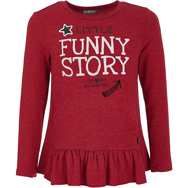 Футболка с длинным рукавом Gulliver для девочкиФутболки с длинным рукавом<br>Характеристики товара:<br><br>• цвет: красный;<br>• состав: 95% хлопок, 5% эластан;<br>• сезон: демисезон;<br>• особенности: с надписью;<br>• имитация многослойности;<br>• коллекция: Графический этюд;<br>• страна бренда: Россия;<br>• страна изготовитель: Китай.<br><br>Лонгслив с надписью для девочки. Интересный дизайн модели, имитирующий актуальную многослойность, построенную на сочетании фактур, а также крупный выразительный принт на передней части изделия и цветная отделка делают футболку необычной и интересной.<br><br>Лонгслив Gulliver (Гулливер) можно купить в нашем интернет-магазине.<br>Ширина мм: 190; Глубина мм: 74; Высота мм: 229; Вес г: 236; Цвет: красный; Возраст от месяцев: 24; Возраст до месяцев: 36; Пол: Женский; Возраст: Детский; Размер: 98,116,110,104; SKU: 7078413;