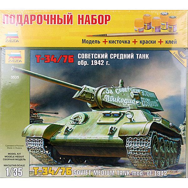 Звезда Сборная модель Звезда Танк Т-34/76 1942г., 1:35 (подарочный набор) танк звезда т 72б с активной броней 1 35 3551п подарочный набор