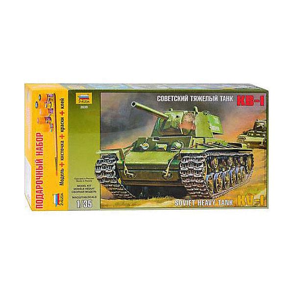 Звезда Сборная модель Звезда Тяжелый советский танк КВ-1, 1:35 (подарочный набор) модель сборная eastern express танк тяжелый кв 85 1 35