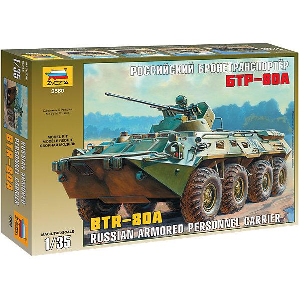 Звезда Сборная модель Звезда Советский БТР-80А, 1:35 звезда сборная модель советский бронеавтомобиль ба 10