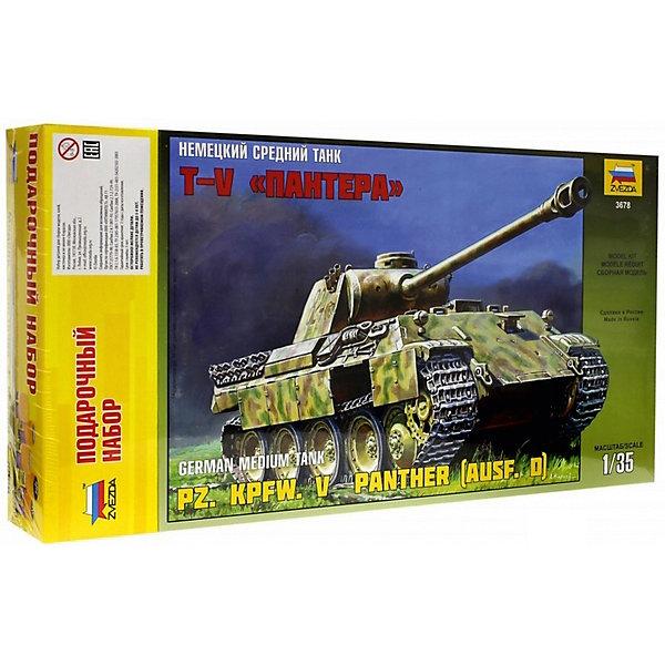 Сборная модель Звезда Немецкий средний танк Пантера, 1:35 (подарочный набор)Военная техника и панорама<br>Характеристики:<br><br>• возраст: от 8 лет;<br>• тип игрушки: сборная модель танка;<br>• количество деталей: 698;<br>•вес: 915  гр;<br>• масштаб: 1:35<br>• размер: 47x7x24.5 см.<br>• материал: пластик;<br>• бренд: Звезда;<br>• упаковка: подарочная коробка;<br>• страна производитель: Россия.<br><br>Сборная модель Звезда «Немецкий средний танк «Пантера»  представляет собой уменьшенную копию немецкого среднего танка «Пантера», разработанного и выпущенного в 1941-1942 годах. В бою впервые танк появился на Курской дуге, после этого он использовался в других европейских местах боевых действий. <br><br>Набор подходит для мальчиков от 8 лет. Рекомендуется помощь взрослых.  Конструкция собирается в масштабе 1:35 из 698 пластмассовых элементов светло-коричневого цвета. В наборе, помимо деталей для сборки, есть клей, краски и кисточка, чтобы после создания танка можно было собственноручно «оживить» модель, придав ей боевую окраску. Длина корпуса составит 24.7 сантиметра. Инструкция содержит подробные схемы для правильного соединения фрагментов и советы по вариантам окрашивания.<br><br>Сборную модель Звезда «Немецкий средний танк «Пантера» можно купить в нашем интернет-магазине.<br>Ширина мм: 470; Глубина мм: 245; Высота мм: 70; Вес г: 915; Возраст от месяцев: 36; Возраст до месяцев: 180; Пол: Мужской; Возраст: Детский; SKU: 7086436;