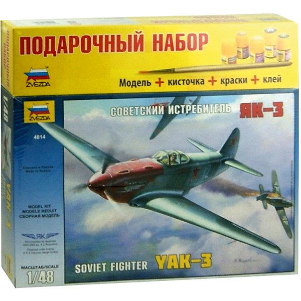 Сборная модель Звезда Советский истребитель Як-3, 1:48 (подарочный набор)Самолеты и вертолеты<br>Характеристики:<br><br>• возраст: от 8 лет;<br>• тип игрушки: сборная модель;<br>• масштаб: 1:48;<br>• количество деталей: 127;<br>• размер: 40x7x24.2 см; <br>• высота: 17,7  см;<br>• комплект: детали для сборки, клей, кисточка, базовые краски;<br>• материал: пластик;<br>• бренд: Звезда;<br>• упаковка: картонная коробка;<br>• страна производитель: Россия.<br><br>Сборная модель от бренда Звезда «Советский истребитель Як-3» окажется увлекательной и познавательной игрой для ребенка старше 8 лет. Сборка заставляет сосредоточиться и проявить усидчивость. Набор станет отличным подарком для любого коллекционера моделей военной техники. <br><br>Легендарный отечественный самолет обрел воплощение в пластике. Потрясающая детализация внешних поверхностей и двигателя, отлично проработанное оружие, возможность сборки в двух вариантах (с закрытым, или открытым капотом). При проектировании и производстве этой модели, были использованы самые передовые технологии, что обеспечило отличную стыкуемость деталей. В наборе: детали для сборки модели, клей.<br><br>Сборную модель от бренда Звезда «Советский истребитель Як-3» можно купить в нашем интернет-магазине.<br>Ширина мм: 306; Глубина мм: 276; Высота мм: 50; Вес г: 460; Возраст от месяцев: 36; Возраст до месяцев: 180; Пол: Мужской; Возраст: Детский; SKU: 7086441;