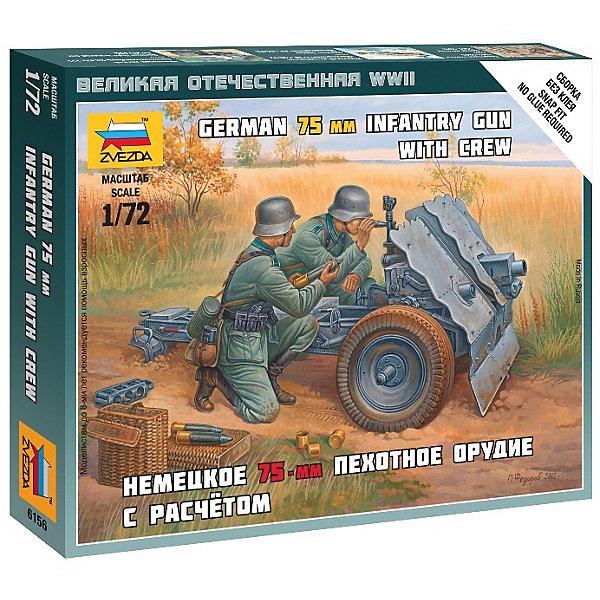 Сборная модель Звезда Немецкое 75-мм пехотное орудие с расчетом, 1:72 (сборка без клея)Военная техника и панорама<br>Характеристики:<br><br>• возраст: от 10 лет;<br>• тип игрушки: сборная модель;<br>• масштаб: 1:72;<br>• материал: пластик;<br>• бренд: Звезда;<br>• длинна: 8 см;<br>• размер: 13,5х2х14,5 см;<br>• упаковка: картонная коробка;<br>• страна производитель: Россия.<br><br>Сборная модель от бренда Звезда «Немецкое 75-мм пехотное орудие с расчетом» окажется увлекательной и познавательной игрой для ребенка старше 10 лет. Сборка заставляет сосредоточиться и проявить усидчивость. Набор станет отличным подарком для любого коллекционера моделей военной техники.<br><br>Чтобы получить реалистичную копию необходимо соединить все детали набора четко по инструкции. Затем копию можно будет расскрасить, тем самым сделав ее более реалистичной. <br><br>Сборка воспитает в ребенке внимательность и усидчивость. Так же в комплекте предусмотрены наклейки и подставка для готовых моделей. <br><br>Сборную модель от бренда Звезда «Немецкое 75-мм пехотное орудие с расчетом» можно купить в нашем интернет-магазине.<br>Ширина мм: 145; Глубина мм: 120; Высота мм: 20; Вес г: 50; Возраст от месяцев: 36; Возраст до месяцев: 180; Пол: Мужской; Возраст: Детский; SKU: 7086466;