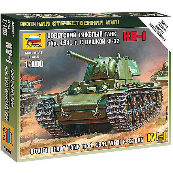Звезда Сборная модель Звезда Советский тяжелый танк КВ-1, 1:100 (сборка без клея) модель танка кв 1 обр 1940г 1 100 бронза